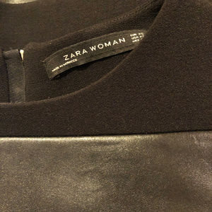Zara Black Knit Faux Leather Stripe Mini Shift XS